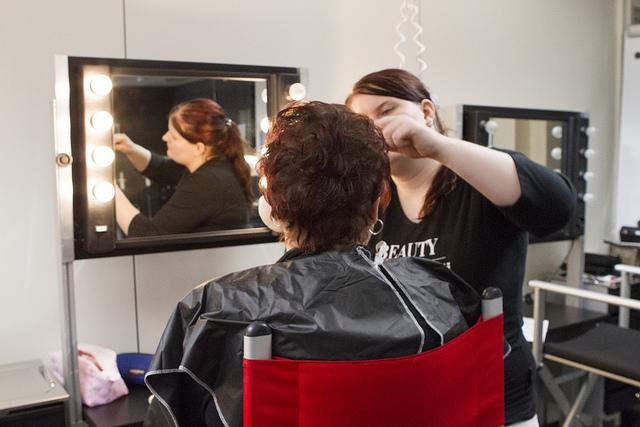 Customer at hairdresser