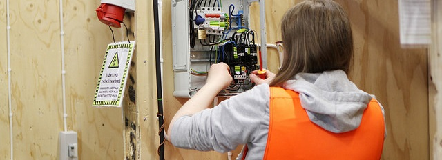 Electrician student working